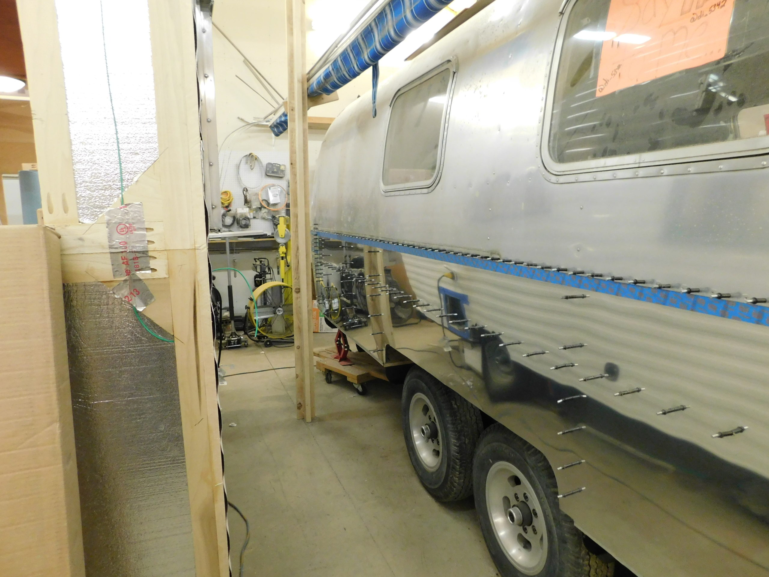 Inside of a completed Commercial Airstream which has been completely restored and modernized